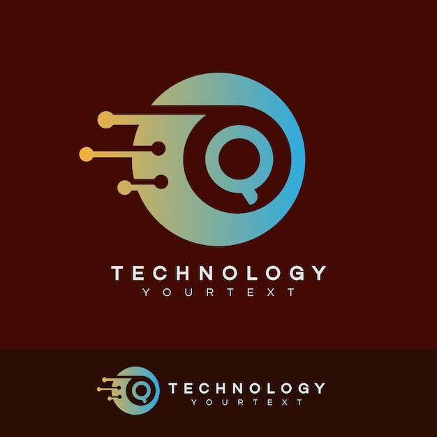 Technologie Initiale Lettre Q Logo Design Vecteur Premium