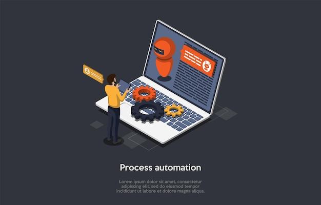 Technologie De L'innovation, Génie Informatique, Concept D'automatisation Des Processus Robotiques. Un Ingénieur De Logiciels Informatiques Programmant Rpa Pour Effectuer Des Processus Métier Spécifiques Vecteur Premium