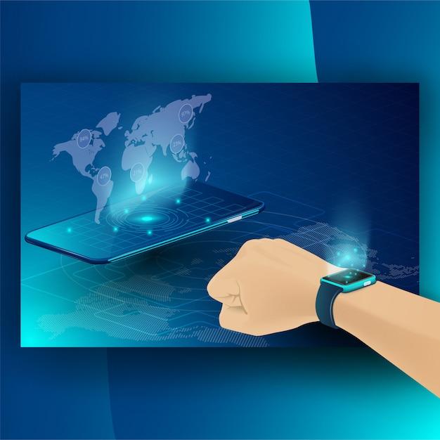 Technologie intelligente et concept isométrique cryptocurrency et blockchain Vecteur Premium
