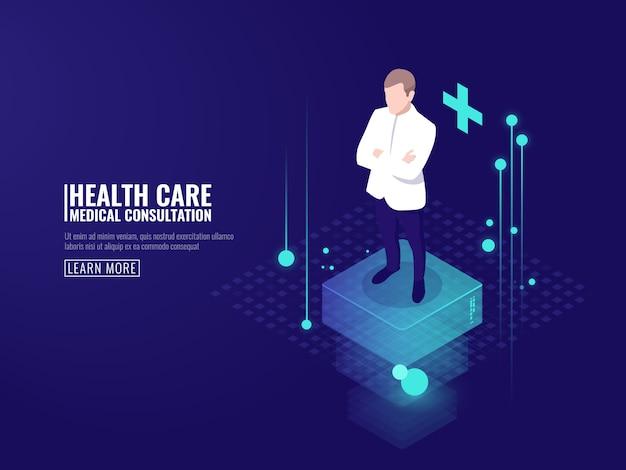 Technologie intelligente dans les soins de santé, le médecin reste sur la plateforme, consultation médicale en ligne Vecteur gratuit