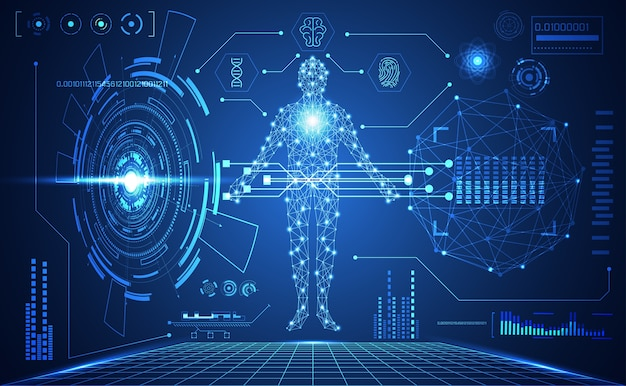 Technologie Interface Utilisateur Futuriste De Hud Médical Futuriste Vecteur Premium