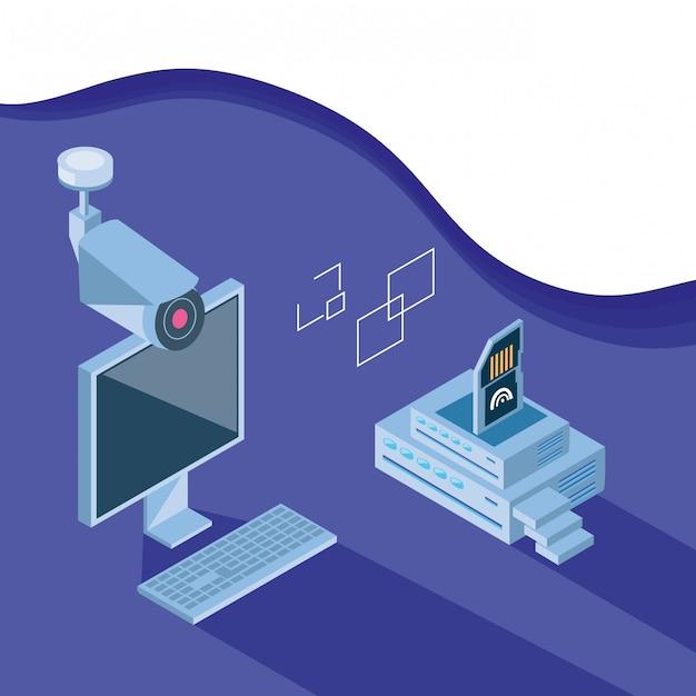 Technologie De Jeu D'icônes Isométrique Vecteur Premium