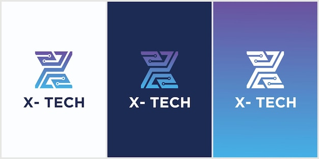 Technologie De Logo Initial Lettre X Symbole De Cercle Connecté Vecteur Premium