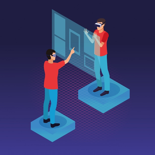 Technologie des lunettes de réalité virtuelle et des personnes Vecteur gratuit