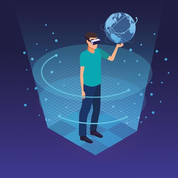 Technologie de lunettes de réalité virtuelle Vecteur gratuit