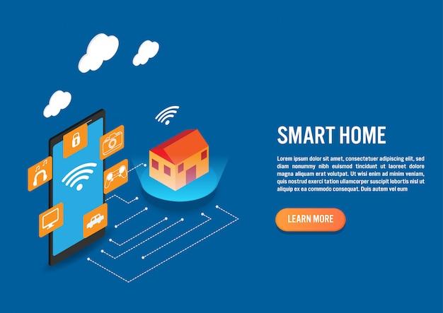 Technologie de maison intelligente au design isométrique Vecteur Premium