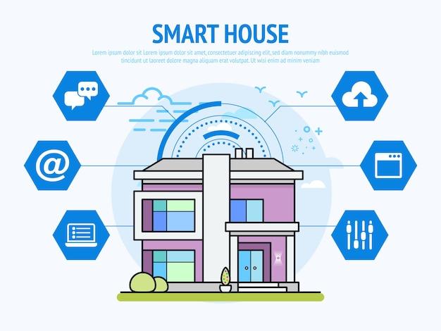 Technologie De Maison Intelligente Du Concept De Domotique. Vecteur Premium