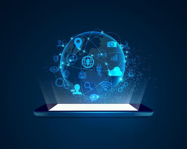 Technologie Mobile Futuriste Vecteur Premium