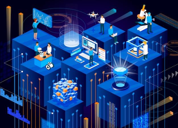 Technologie Numérique Du Futur Isométrique. Vecteur Premium
