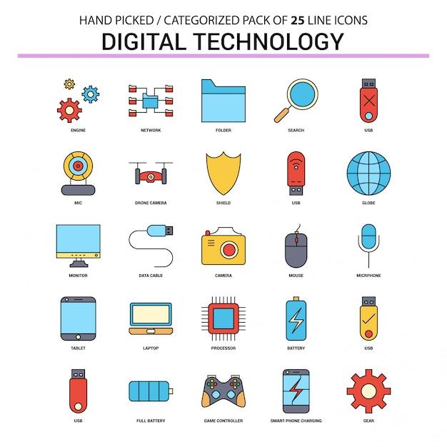 Technologie numérique ligne plate icon set Vecteur Premium