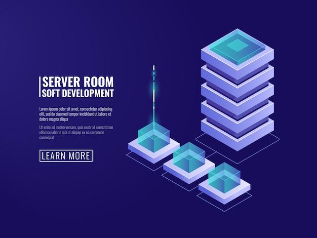 Technologie numérique, serveur de données, stockage en nuage, cryptage et sécurité, icône de base de données Vecteur gratuit