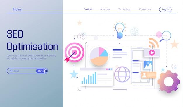 Technologie d'optimisation du référencement, analyse de moteur de recherche, analyse sociale et de données Vecteur Premium