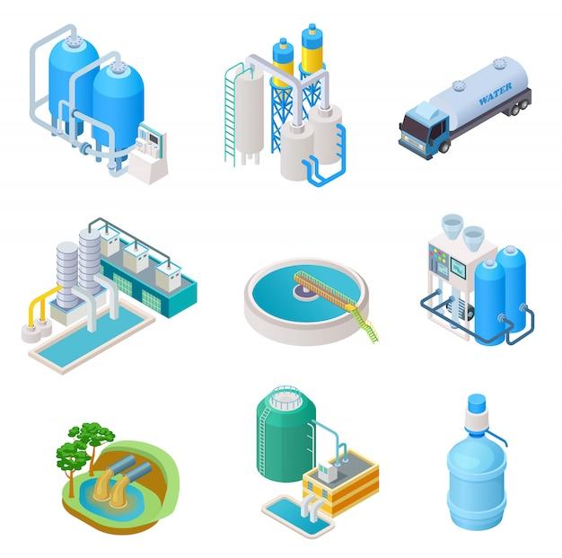 Technologie De Purification De L'eau. Système Industriel D'eau De Traitement Isométrique, Ensemble Isolé De Vecteur De Séparateur D'eaux Usées Vecteur Premium