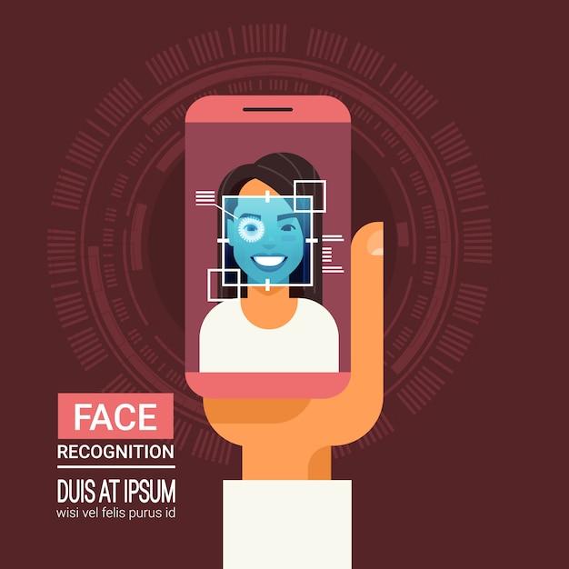 Technologie de reconnaissance des visages téléphone intelligent analysant la rétine des yeux d'un système d'identification biométrique pour femme Vecteur Premium