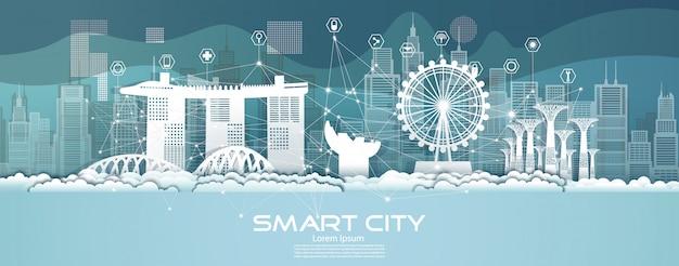 Technologie Réseau Sans Fil De Communication Ville Intelligente Avec Architecture à Singapour. Vecteur Premium