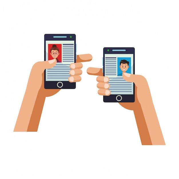 Technologie de réseau social Vecteur Premium