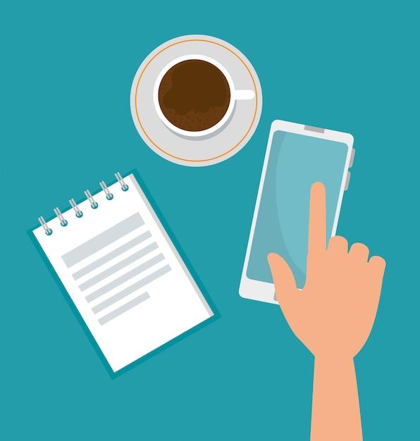 Technologie smartphone avec tasse à café et note Vecteur gratuit