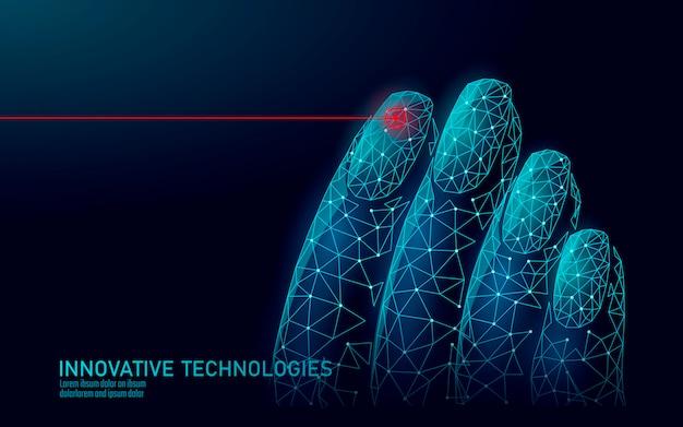 Technologie De Soin Des Suppléments D'ongles Modernes Low Poly. Thérapie Laser Innovante Vecteur Premium