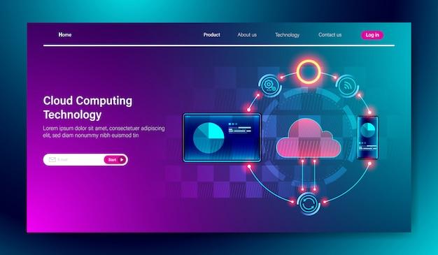Technologie de stockage en ligne en nuage Vecteur Premium