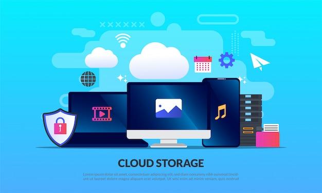 Technologie de stockage en nuage, modèle Vecteur Premium