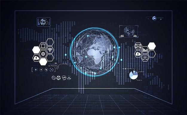 Technologie ui futuriste hud interface fond affaires et carte du monde point Vecteur Premium