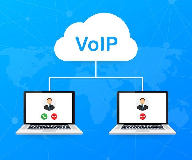 Technologie Voip, Voix Sur Ip. Bannière D'appels Internet. Vecteur Premium