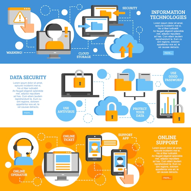 Technologies de l'information bannières horizontales Vecteur gratuit