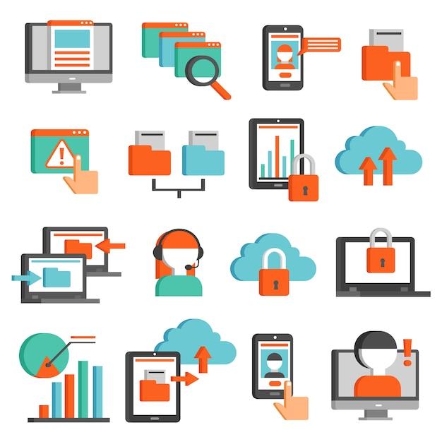 Technologies de l'information plat icons set Vecteur gratuit