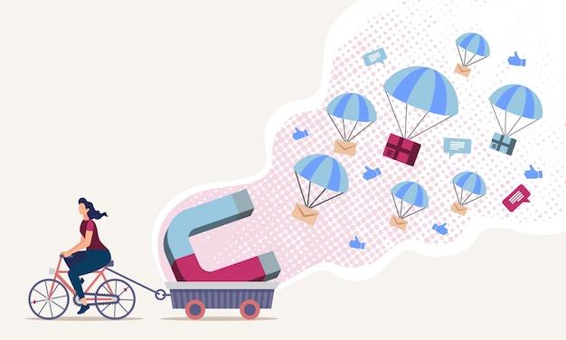 Technologies de marketing numérique à plat Vecteur Premium