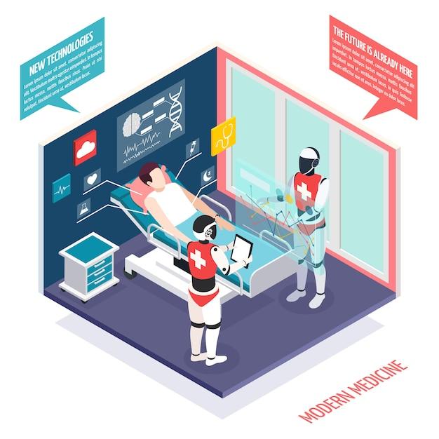 Technologies Médicales Modernes Dans La Composition Isométrique Des Soins De Santé Avec Deux Nanorobots Préparant Le Patient à L'illustration De La Chirurgie Vecteur gratuit