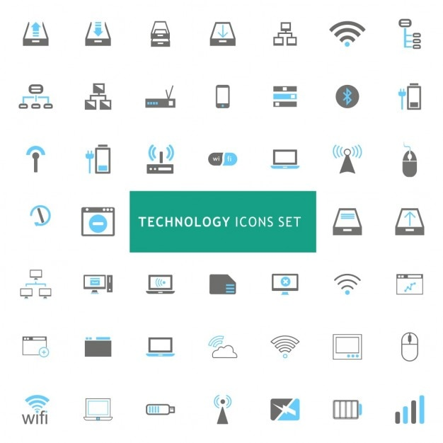Technology Icons Set Vecteur gratuit