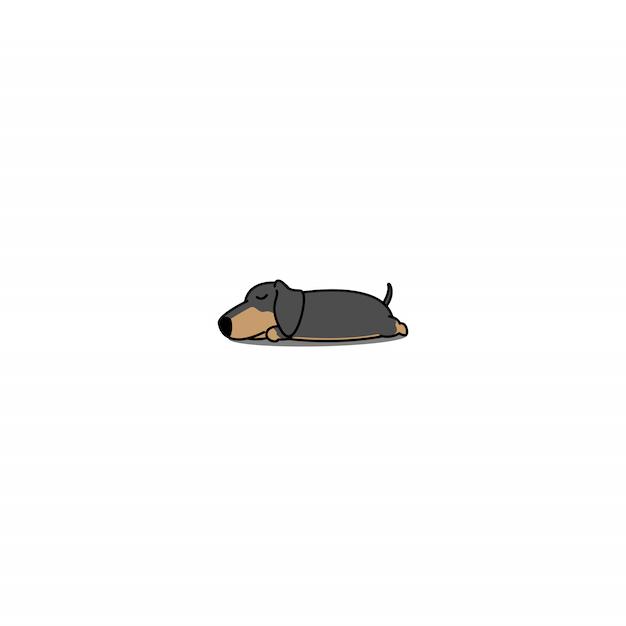 Teckel chien dormant icône Vecteur Premium