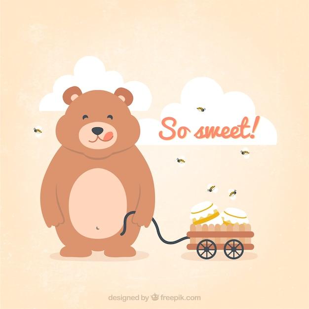 Teddy Bear Avec Pot De Miel Vecteur gratuit