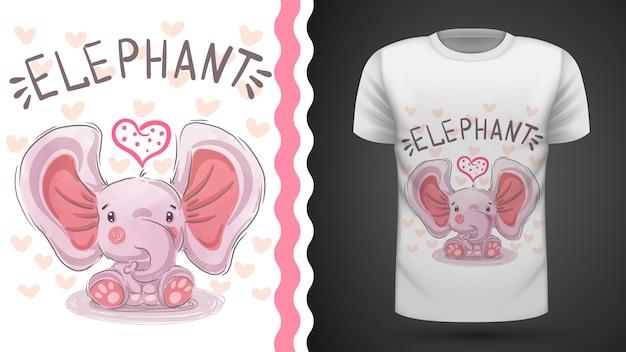 Teddy elephant - idée d'un t-shirt imprimé Vecteur Premium