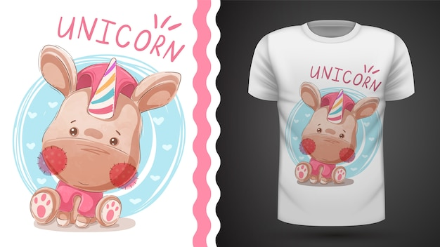 Teddy horn - idée d'imprimer un t-shirt Vecteur Premium