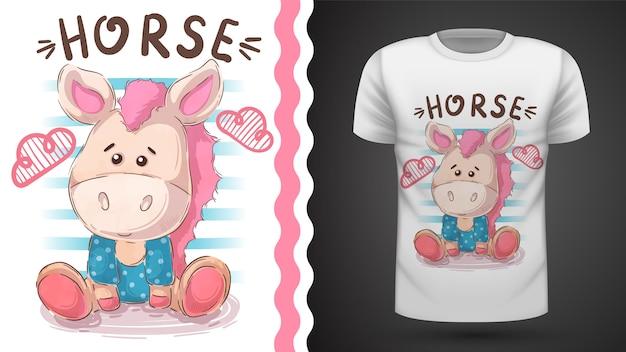 Teddy horse - idée d'imprimer un t-shirt Vecteur Premium