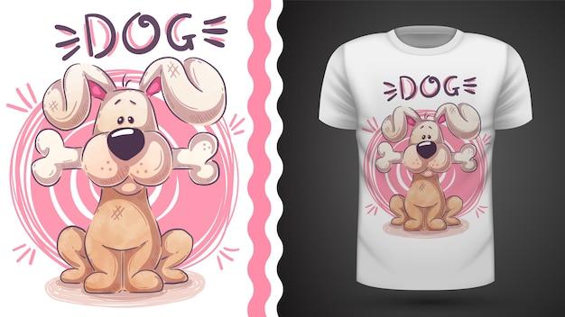 Tee-shirt chien mignon avec os - idée d'impression Vecteur Premium