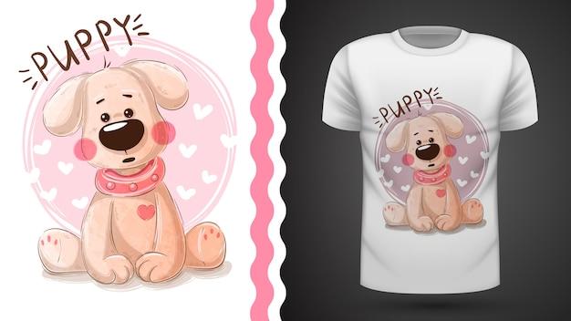 Tee-shirt chiot mignon - idée d'impression Vecteur Premium