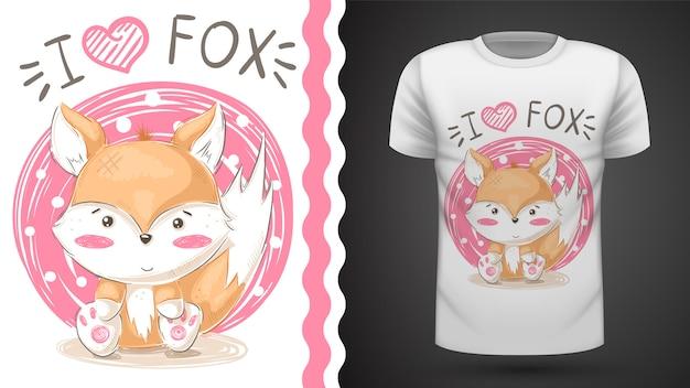 Tee-shirt cute renard - idée d'impression Vecteur Premium