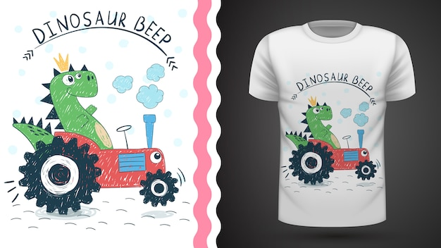 Tee-shirt dino with tractor idea for print Vecteur Premium