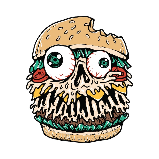 Tee-shirt Hamburger Food Monster Illustration Vecteur Premium
