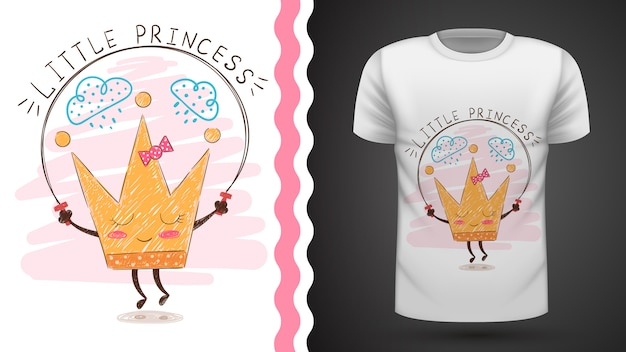 Tee-shirt idée couronne en or à imprimer Vecteur Premium