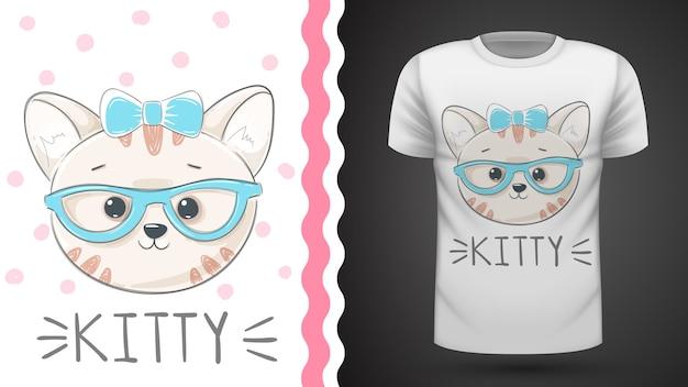 Tee shirt jolie idée de chat Vecteur Premium