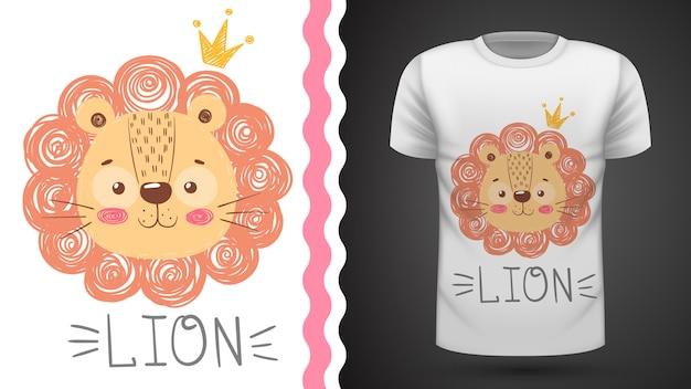 Tee-shirt lion mignon Vecteur Premium