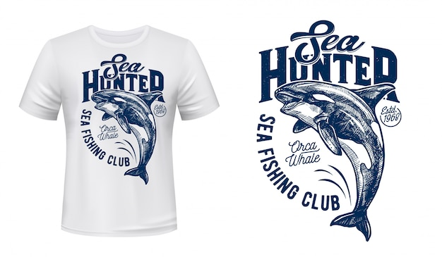 Tee-shirt Maquette De L'épaulard Du Club De Pêche Vecteur Premium