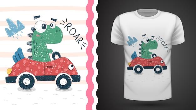 Tee-shirt mignon dino avec idée de voiture à imprimer Vecteur Premium