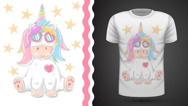Tee-shirt mignon idée de licorne pour l'impression Vecteur Premium