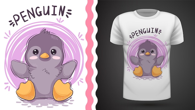 Tee-shirt mignon pingouin, idée d'impression Vecteur Premium