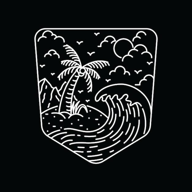 Tee-shirt summer nature beach line graphic illustration art Vecteur Premium