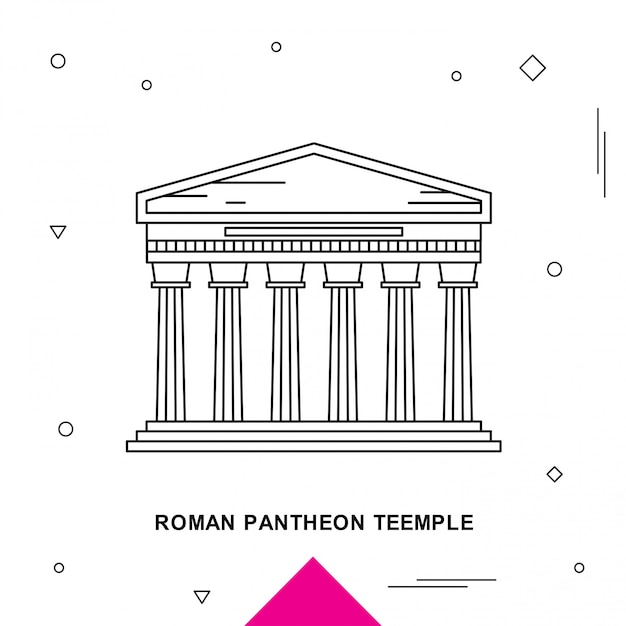 Teemple pantheon romain Vecteur Premium